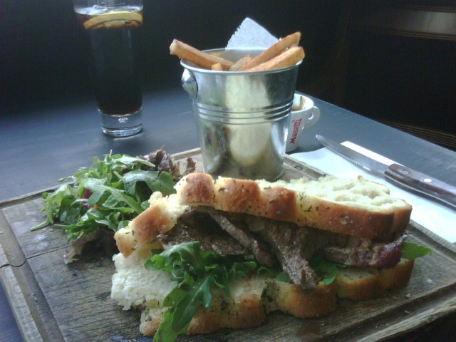 Steak sandwich at The Black Pig